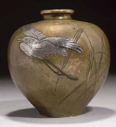 A Japanese bronze inlaid vase,