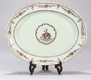 An oval famille rose dish for