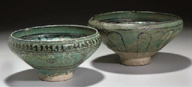 Two Sultanabad turquoise-glaze