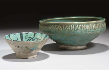 Two turquoise glazed pottery b