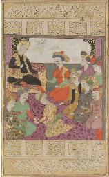 A THRONE SCENE, SAFAVID IRAN,