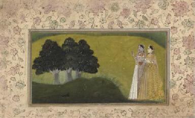 LADIES IN A LANDSCAPE, MUGHAL