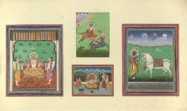 FOUR INDIAN MINIATURES MOUNTED