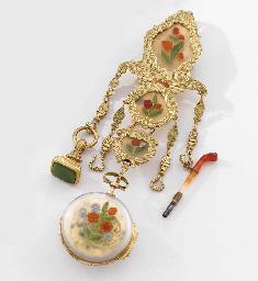 Anon An unusual and decorative 18K gold, crystalline quartz ...