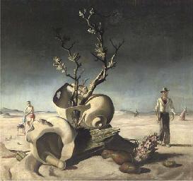 Surrealist landscape with figu