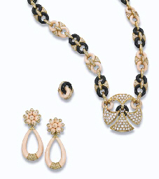AN ONYX, CORAL AND DIAMOND SET, BY FRED AND A PAIR OF CORAL ...