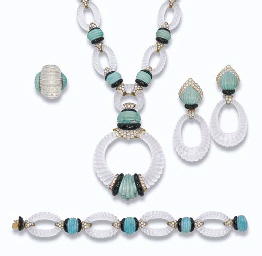 A ROCK CRYSTAL, TURQUOISE AND