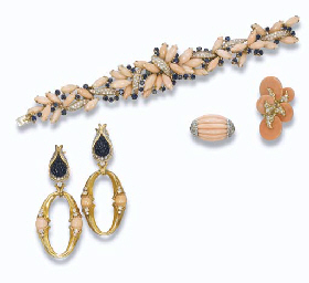 A GROUP OF PINK CORAL AND DIAMOND JEWELLERY, BY FRED AND A G...