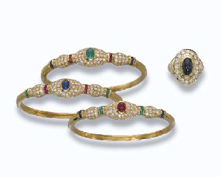 A GROUP OF GEM-SET JEWELLERY INCLUDING A RING, BY CARTIER