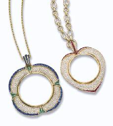 TWO DIAMOND AND GEM-SET PENDAN