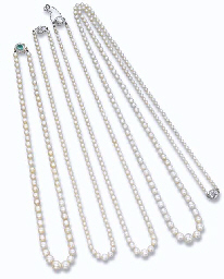 FOUR SINGLE-ROW NATURAL PEARL