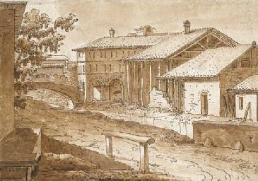 Paysage d'italie avec bâtiments au bord d'une rivière