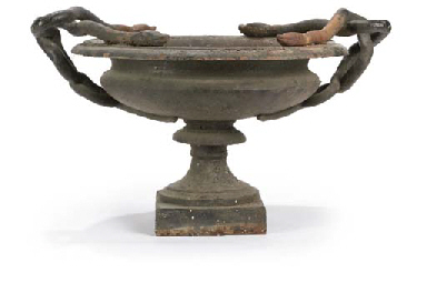 A FRENCH CAST IRON URN