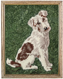 A WOOLWORK PICTURE OF A HOUND