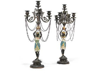 A PAIR OF FRENCH POLYCHROME SP