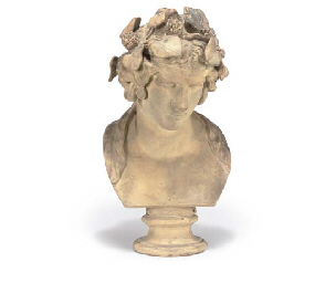 A FRENCH TERRACOTTA BUST OF AN