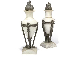 A PAIR OF ITALIAN BRONZE AND W