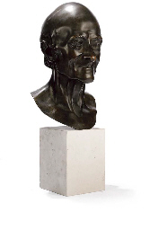 A FRENCH BRONZE BUST OF VOLTAI