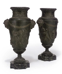A PAIR OF FRENCH SPELTER VASES
