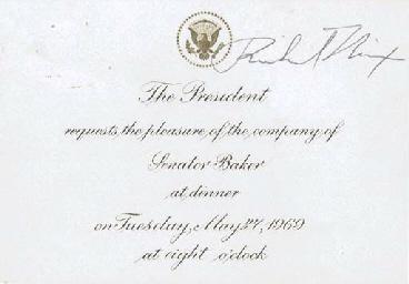 NIXON, Richard M. Printed invitation card signed (