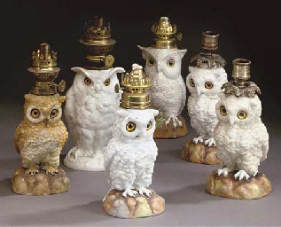 A GROUP OF SIX CERAMIC OWL TAB