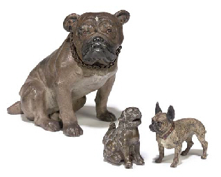 AN AUSTRIAN COLD PAINTED SPELTER MODEL OF A BULLDOG