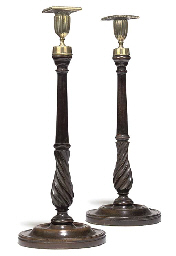 A PAIR OF MAHOGANY AND BRASS C