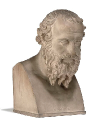 A TERRACOTTA BUST OF DIOGENES