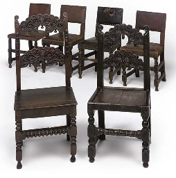 TWO OAK SOLID SEAT SIDE CHAIRS