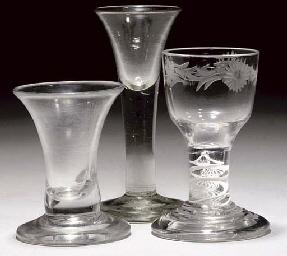 THREE VARIOUS FIRING-GLASSES
