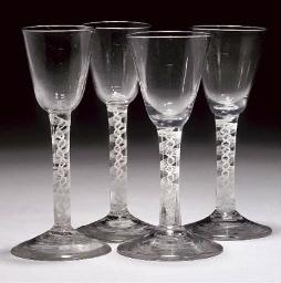 FOUR OPAQUE-TWIST WINE-GLASSES