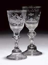 TWO GERMAN ENGRAVED WINE-GLASS