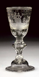 A GERMAN ENGRAVED WINE-GLASS