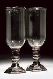 A PAIR OF WHITE-METAL AND GLAS