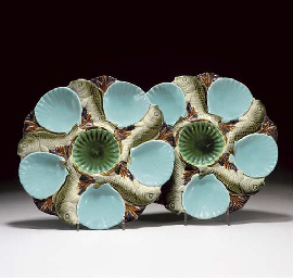 TWO MINTON MAJOLICA OYSTER PLA