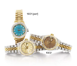 ROLEX TWO LADY'S 18K GOLD AND LATER DIAMOND-SET AUTOMATIC WR...