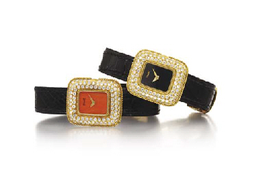 PIAGET TWO LADY'S 18K GOLD AND DIAMOND-SET RECTANGULAR WRI...