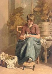 A girl peeling turnips