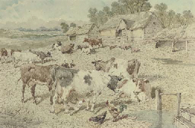 A farmyard scene with cattle,