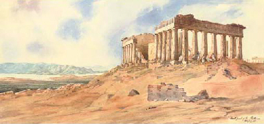 East front of the Parthenon, A