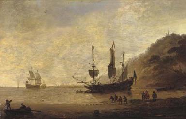 A man-o'-war at anchor before