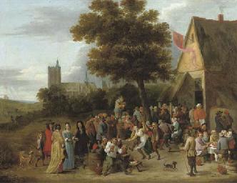 A peasant feast before an inn,