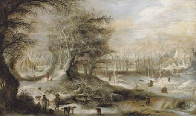 A winter landscape with hunter