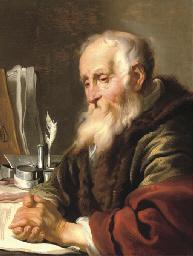 An elderly scholar at his desk