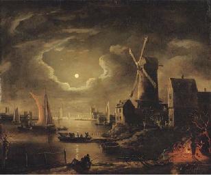 A moon-lit river landscape wit