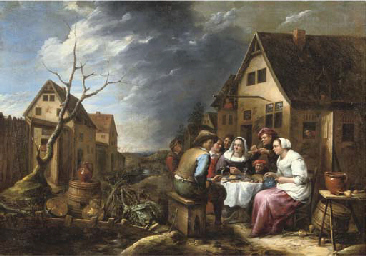 Peasants eating and drinking b