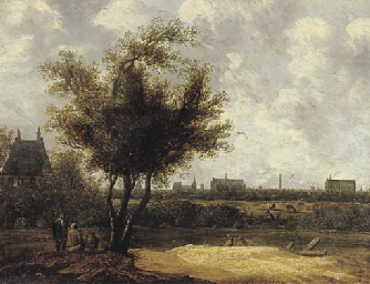A wooded landscape with figure