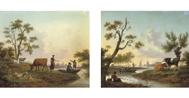 A pastoral river landscape wit