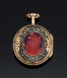 AN 18TH CENTURY GOLD AND ENAMEL OPEN FACE VERGE POCKET WATCH...