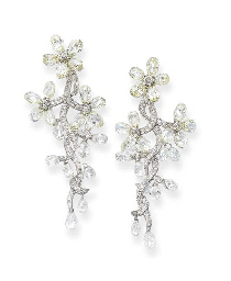 A Pair of Diamond Floral Ear P